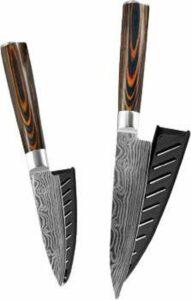 Damascus Mes - Set van 2 - Professioneel - Damascus staal - Keuken - Damast staal - Japanse - Koksmes - 67 Lagen - Damastmes - 19cm & 23cm Set Paring Knife - Groente