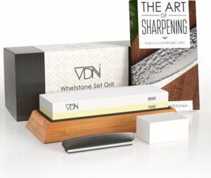 Luxe Dubbelzijdige Wetsteen Slijpsteen set 1000 6000 - Edelkorund (18x6x3 CM) - met E-book - Messen slijpen - VDN