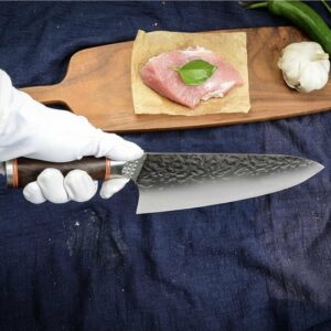 World kitchen- koksmessen- ultra sharp - japans koksmes - chefkok - damast staal - 21cm lemmet -31,5cm totaal - damascus mes - mes