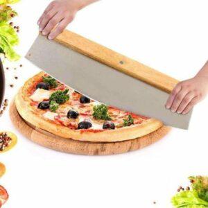 Decopatent® PRO Pizzasnijder RVS met houten handvat