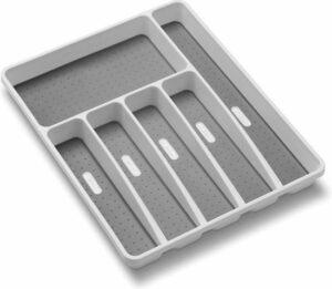 Fesio Bestekbak - Besteklade Organizer - Antislip Lade Verdeler - 6 Vakken - 40 x 32 x 4,5 cm - Wit - Grijs
