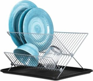 KitchenBrothers Inklapbaar Afdruiprek met Lekbak - RVS Afwasrek