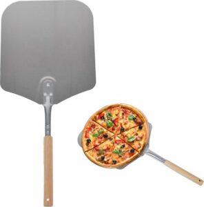 Nonna pizzaschep RVS 79x30,5 cm - pizzaspatel vierkant - extra lange houten steel voor oven en barbecue