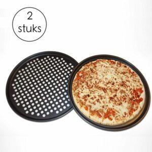 Pizza plaat - Bakplaat - Rond - Pizzaplaat - Pizzavorm - Bakplaat voor Oven - Zwart - 33 CM - 2 Stuks