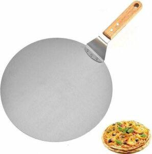 Pizzaschep RVS Rond voor BBQ of Oven - houten handvat 30cm Pizzaschep - Pizzaspatel - Taartschep -Spatel