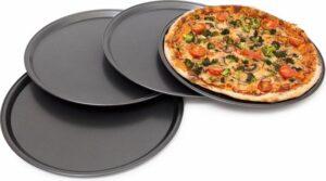 relaxdays pizza bakplaat set van 4, 4x pizzaplaat 33 cm, bakplaat antiaanbaklaag