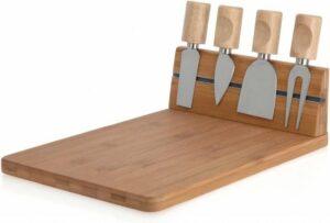 Excellent Houseware Kaasplankje met 4 Mesjes - Bamboe