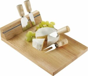 Houten kaasplank met kaasmessen en magneetstrip