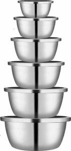 Mengkommen Set – RVS – Set van 6 – Multifunctionele Mixing Bowls – Beslagkommen – Bekkens – Slakom set – Beslagkom – De perfecte kitchen essential voor je keuken