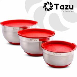 Tazu Kitchenware - Beslagkommen - Mengkommen - Slakommen - RVS - Met Deksel en Antislipbodem