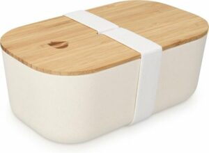 Bento Box Lunchtrommel met bamboe deksel - broodtrommel 1 vak 1100 ml luchtdicht - broodtrommel voor kinderen en volwassenen - elastiek sluiting - wit
