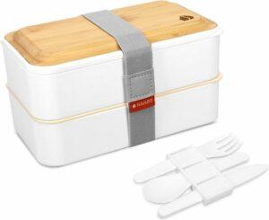 Bento Box Set incl. bestekhouder - lunchbox met bestek en bamboe deksel - broodtrommel 2 vakken luchtdicht