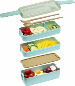 ColourFam® Groene Lunchbox - Duurzaam en Ecologische Bento Lunchbox - Inclusief Bestek