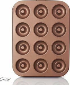 Cuisio® Donut Bakvorm - Hoogwaardige Bakvorm van Carbon Staal - Geschikt voor 12 Mini Donuts - Donutmaker met Anti-Aanbaklaag - Goudkleurig - Inclusief E-Book met Recepten en Tips