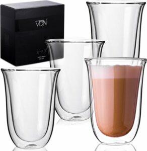 Dubbelwandige latte macchiato glazen van borosilicaat - Warme en koude dranken - 300 ML - Set van 4