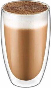 Krumble Latte Macchiato of theeglas dubbelwandig 400ml - Langer warm houden in dit glas - Transparant - Caffee latte glas - Flame model