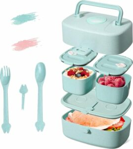 Lunchbox, kinderlunchbox met handvat, Bento Box voor kinderen met 3 vakken, vaatwasmachinebestendig