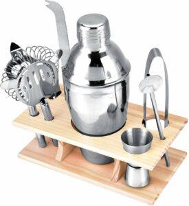 Luxe Cocktail Shaker Set 9-delig en Organizer – Metaal met Houten Bar Stand