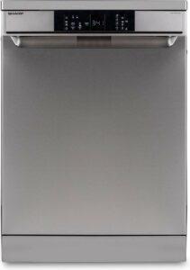 Sharp QWNA1DF45EIEU-vrijstaande vaatwasser-60cm-topsproeier-besteklade-RVS deur